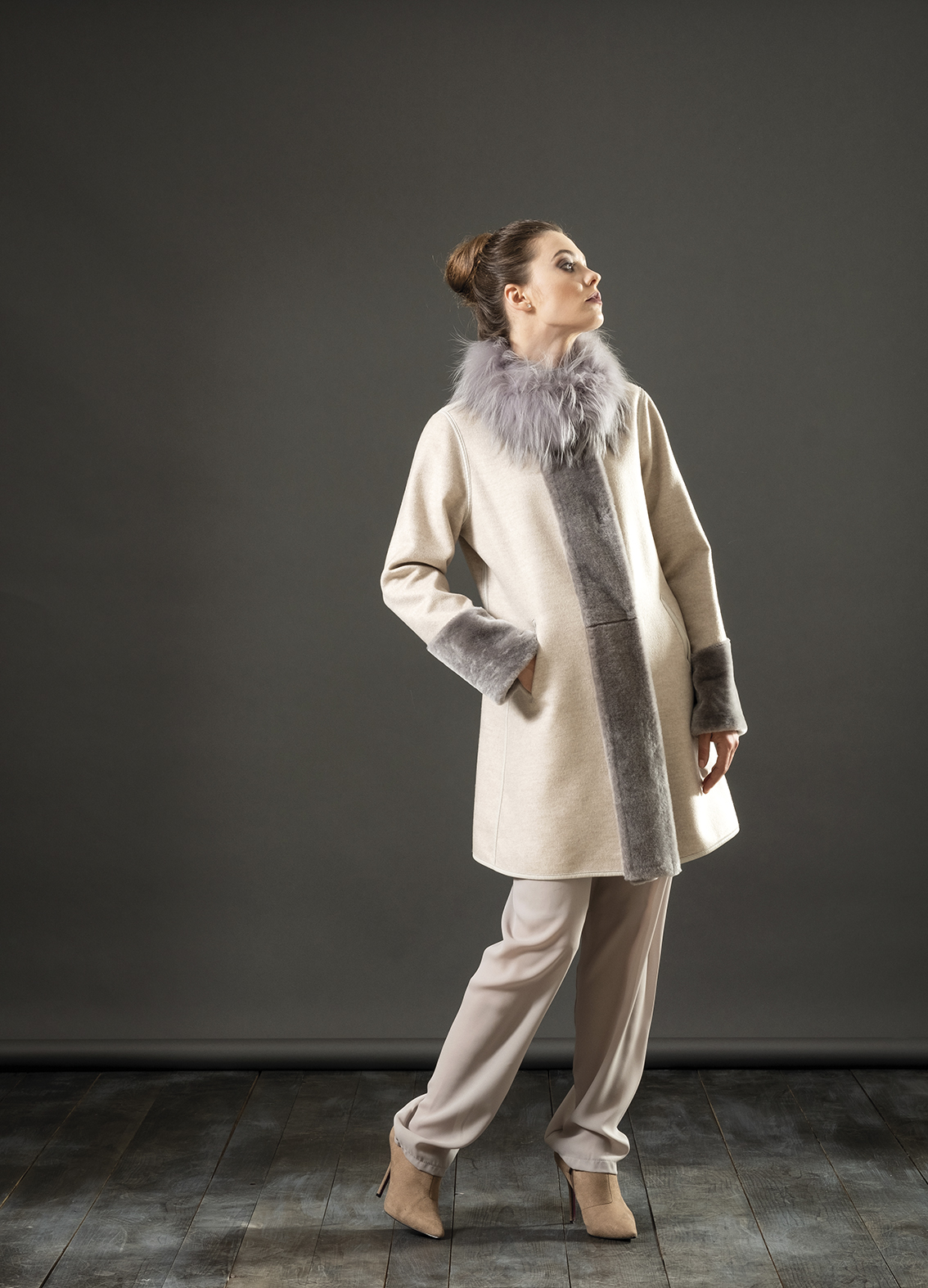 Giaccone cashmere + montone + volpe